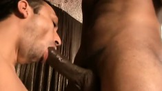 Black security guard gives a lustful white guy a heavy anal pounding
