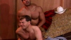 Hunky muscular guys wrestle and get into a sexy gay fuck fest