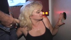 Gloryhole wife gets down on her knees and displays her blowjob skills