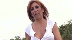 Guy fucks milf with hairy pussy outdoor