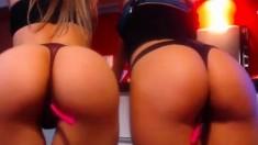 Blonde and redhead having lesbian sex toys fun