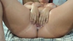 Chunky girl's hot masturbation on webcam