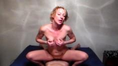 Small Blonde Teen Masturbates With Purple Dildo