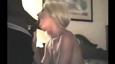 One blonde milf and three horny big cocks