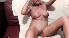 Busty blonde milf panty play and striptease