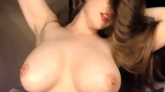 Huge Tits Chick Plays And Rubs Her Wet Cunt