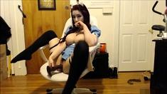 Busty teen enjoys fingering her hairy hole