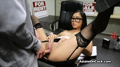 Asian hottie in stockings rides cock on job interview