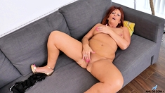 Big titted girl striptease and masturbation