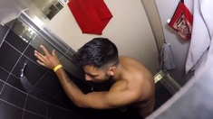 Str8 spy guy in hostel shower jerk part 2
