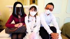 Japanese teen and 4 cocks